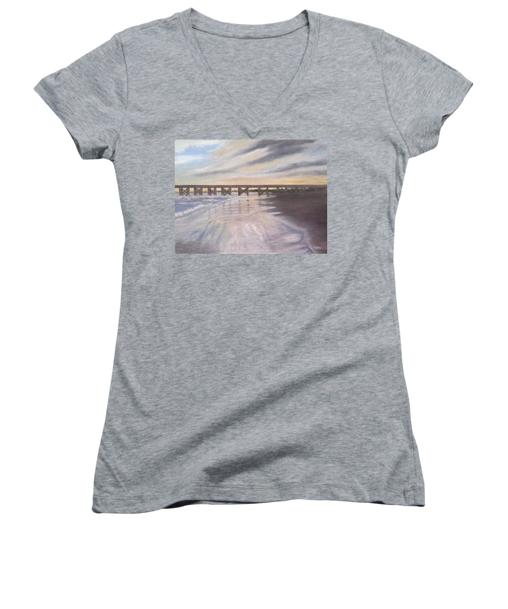 Beach; Pier; Low Country Women's V-Neck (Athletic Fit) featuring the painting Reflections by Ben Kiger