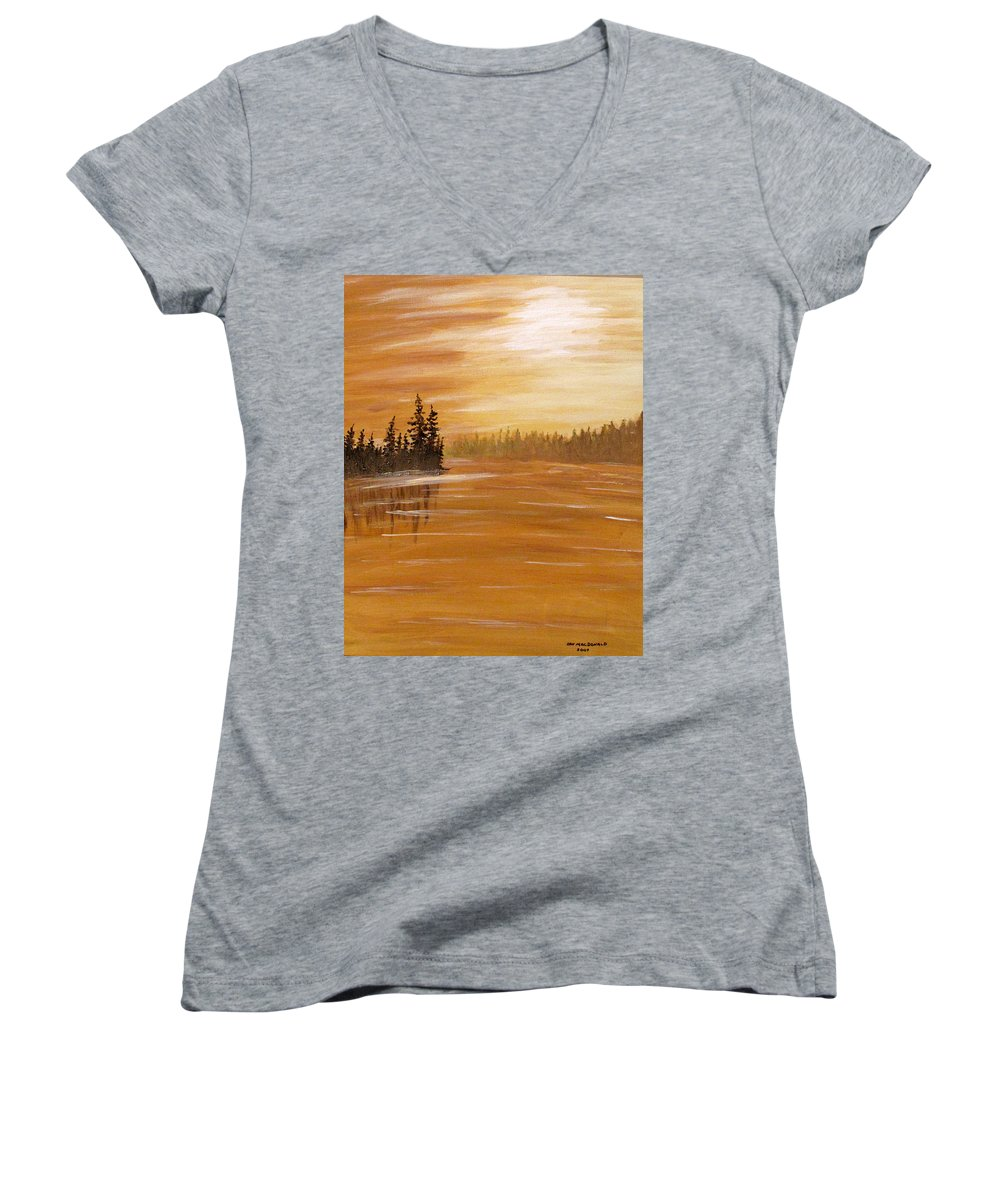 Northern Ontario Women's V-Neck T-Shirt featuring the painting Rock Lake Morning 1 by Ian MacDonald