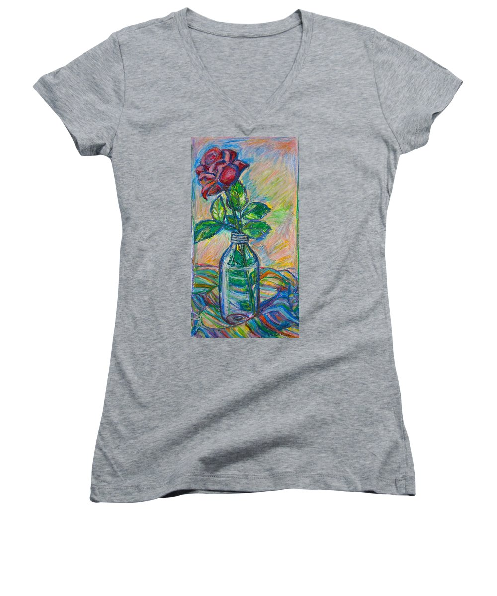 Still Life Women's V-Neck T-Shirt featuring the painting Rose In A Bottle by Kendall Kessler
