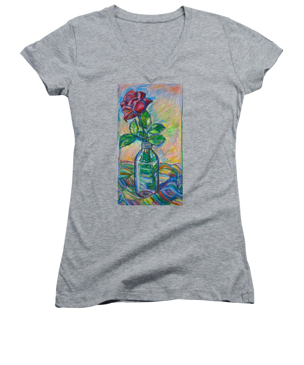 Still Life Women's V-Neck (Athletic Fit) featuring the painting Rose In A Bottle by Kendall Kessler