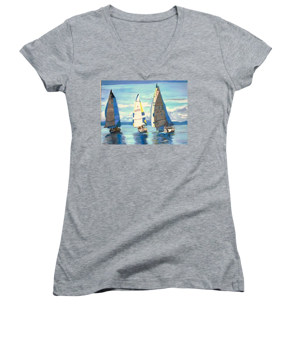 Seascape Women's V-Neck (Athletic Fit) featuring the painting Sailing Regatta At Port Hardy by Teresa Dominici