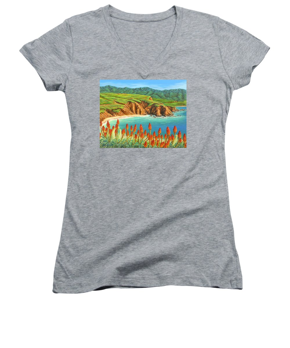 Ocean Women's V-Neck T-Shirt featuring the painting San Mateo Springtime by Jane Girardot