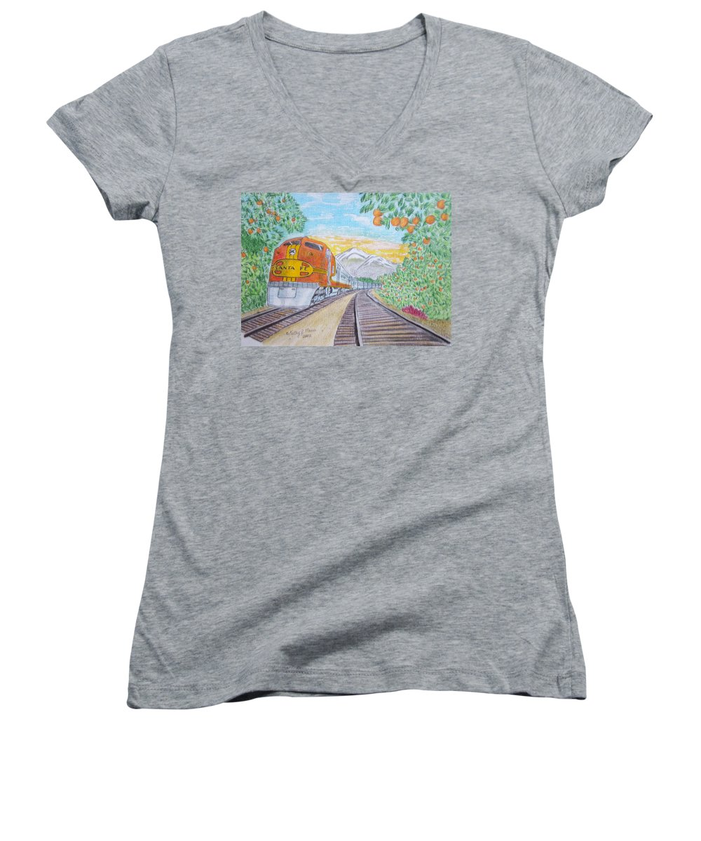 Santa Fe Women's V-Neck T-Shirt featuring the painting Santa Fe Super Chief Train by Kathy Marrs Chandler