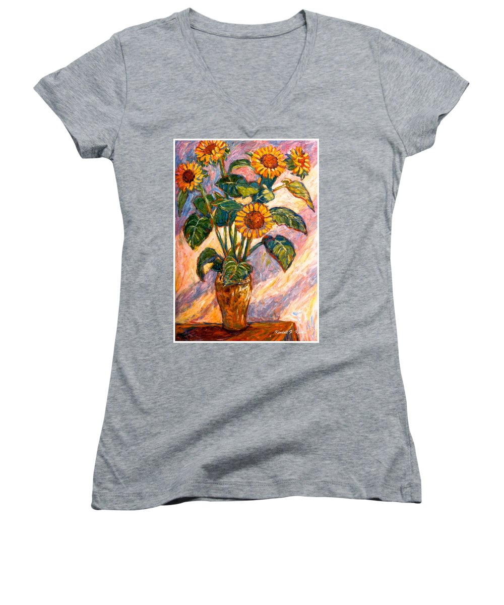 Floral Women's V-Neck T-Shirt featuring the painting Shadows On Sunflowers by Kendall Kessler