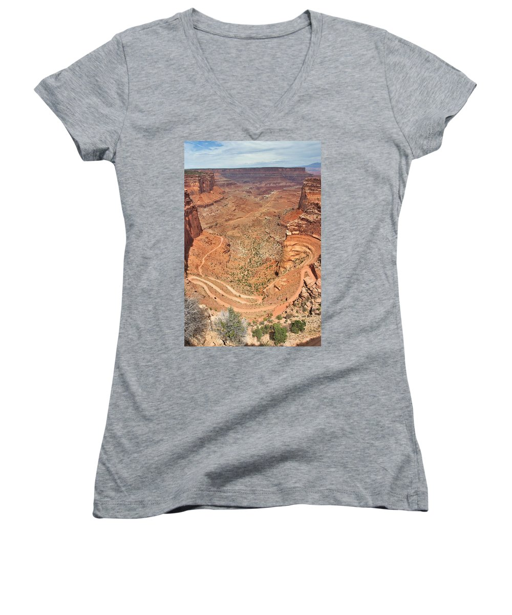 3scape Women's V-Neck T-Shirt featuring the photograph Shafer Trail by Adam Romanowicz