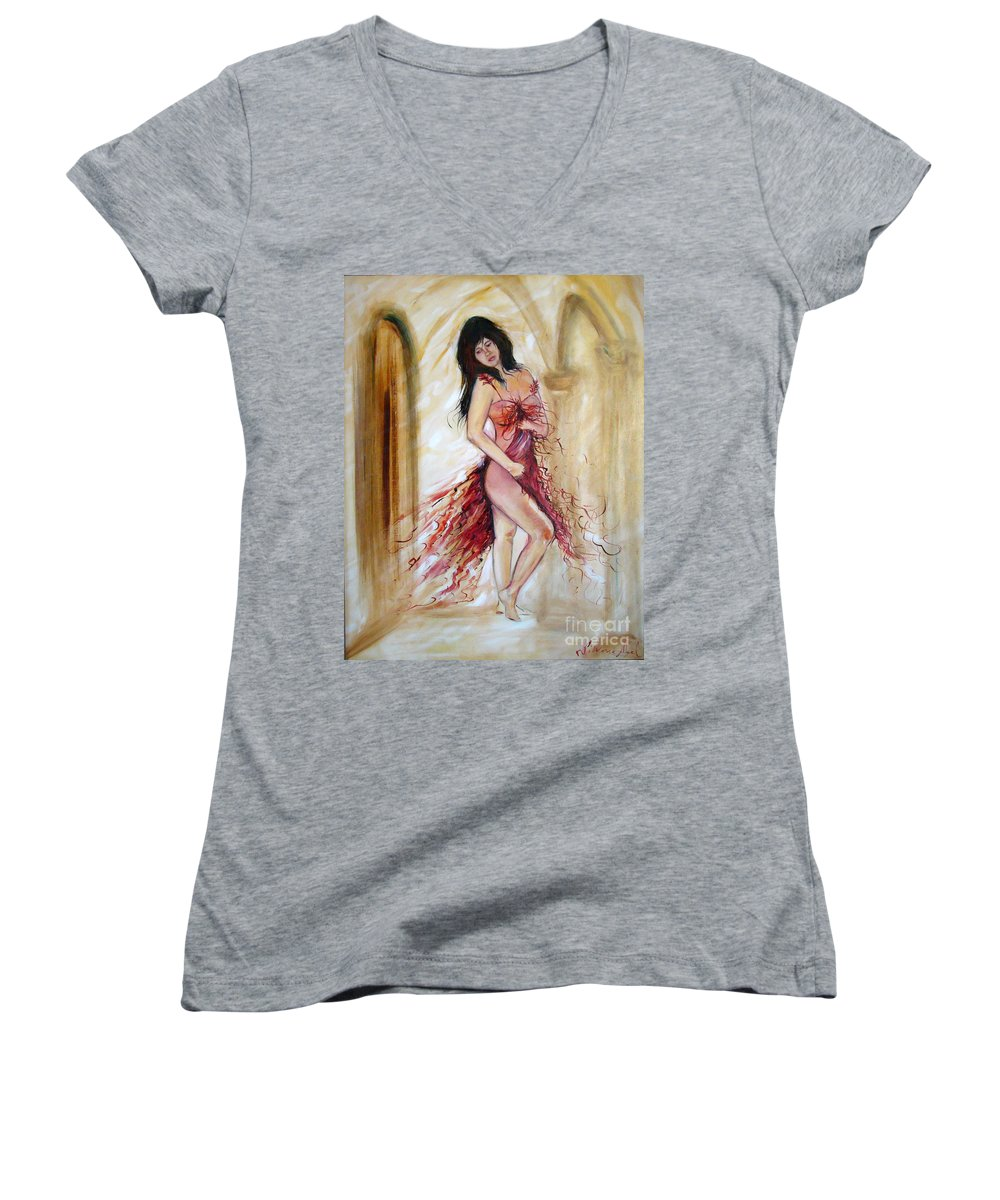 Contemporary Art Women's V-Neck T-Shirt featuring the painting She by Silvana Abel