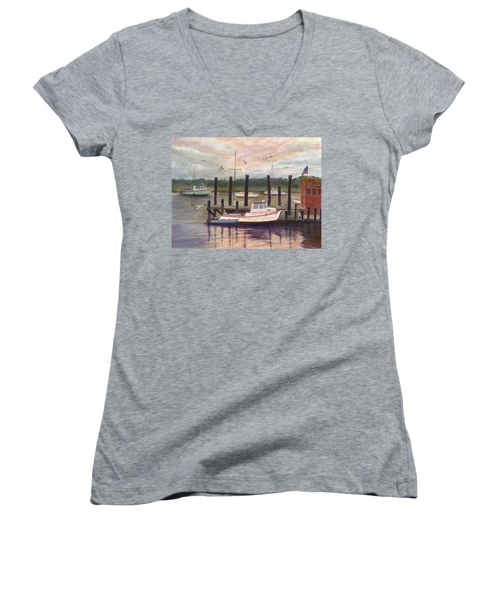 Charleston; Boats; Fishing Dock; Water Women's V-Neck T-Shirt featuring the painting Shem Creek by Ben Kiger