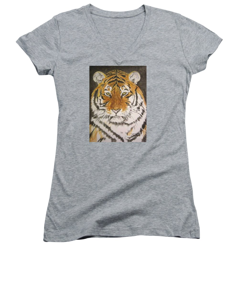 Siberian Tiger Women's V-Neck (Athletic Fit) featuring the painting Siberian Tiger by Regan J Smith