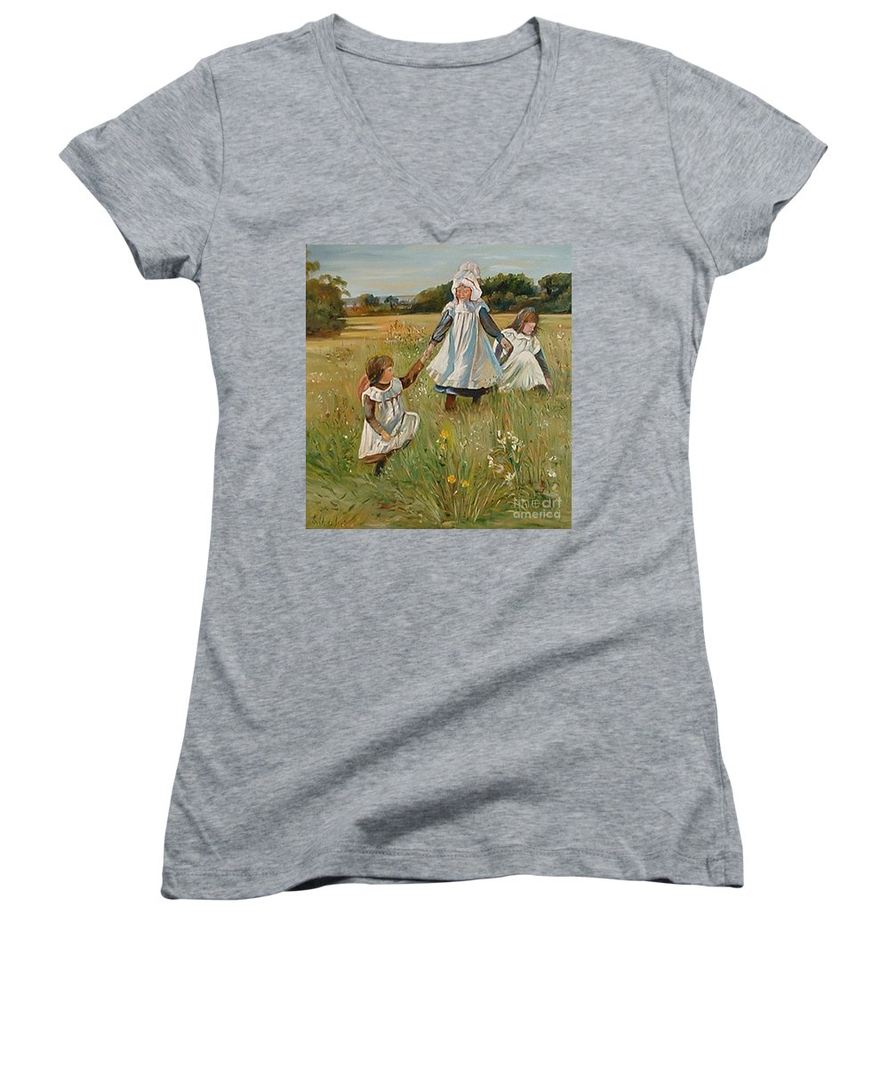 Classic Art Women's V-Neck (Athletic Fit) featuring the painting Sisters by Silvana Abel