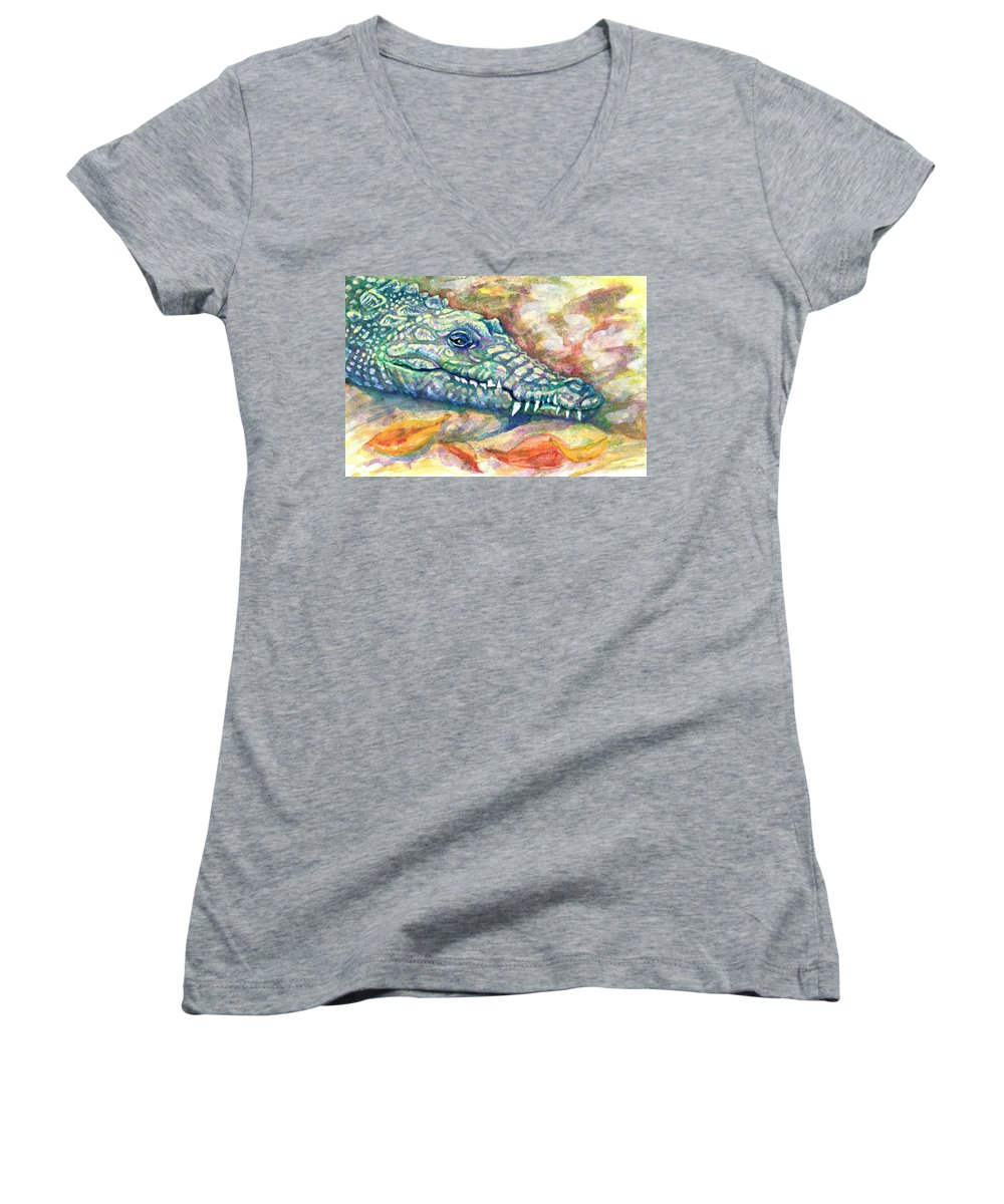 Crocodile Women's V-Neck featuring the painting Snaggletooth by Ashley Kujan