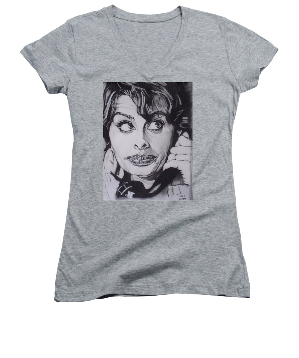 Charcoal;icon;actress;diva;italian;cat Eyes;beautiful;cute;adorable Women's V-Neck T-Shirt featuring the drawing Sophia Loren Telephones by Sean Connolly