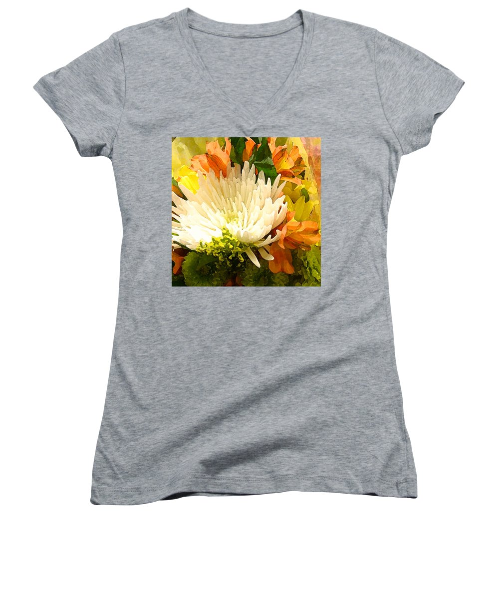 Roses Women's V-Neck (Athletic Fit) featuring the painting Spring Flower Burst by Amy Vangsgard