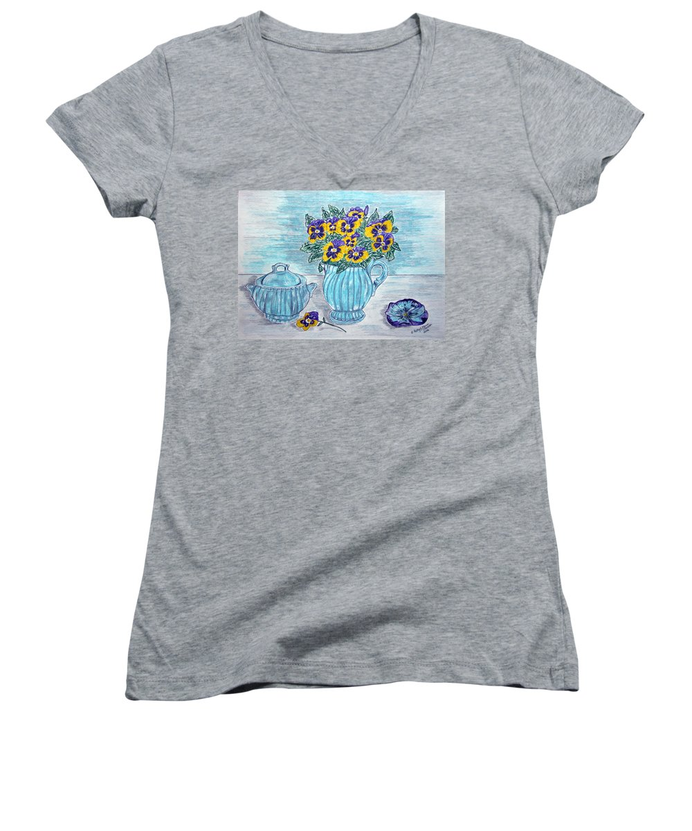 Stangl Pottery Women's V-Neck (Athletic Fit) featuring the painting Stangl Pottery And Pansies by Kathy Marrs Chandler