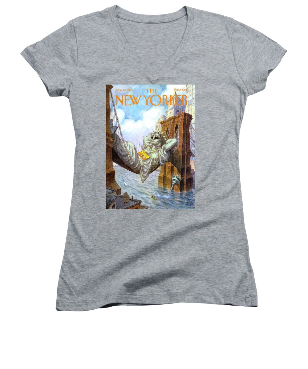 Liberty Women's V-Neck featuring the painting Statue Of Liberty Lounges Between The Brooklyn by Peter de Seve