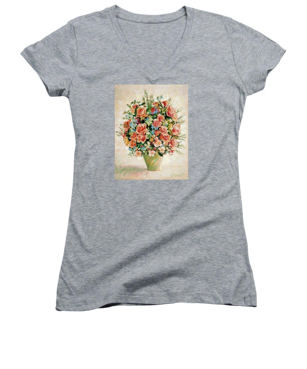 Flowers Women's V-Neck T-Shirt featuring the painting Still Life With Roses by Iliyan Bozhanov