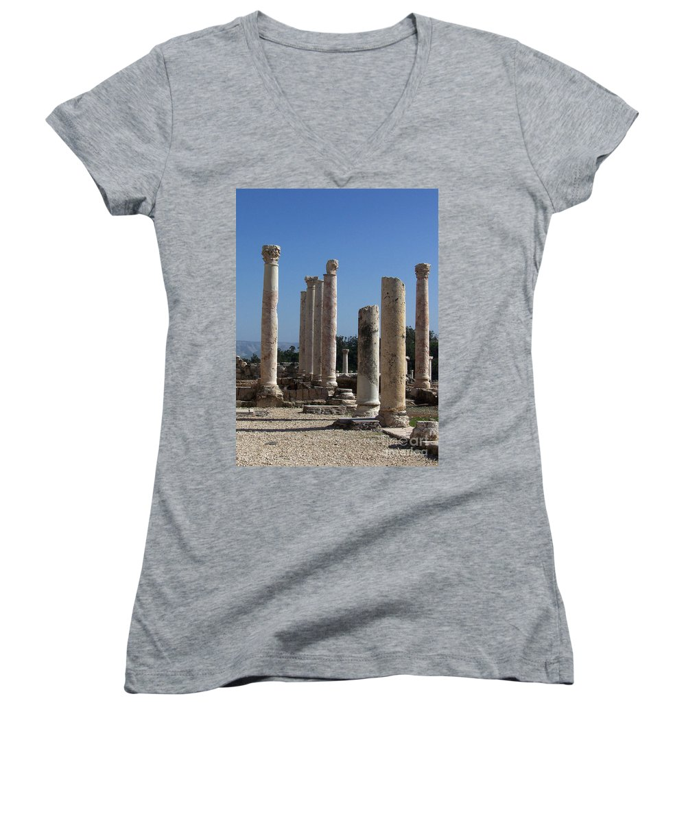 Israel Women's V-Neck T-Shirt featuring the photograph Still Standing by Kathy McClure