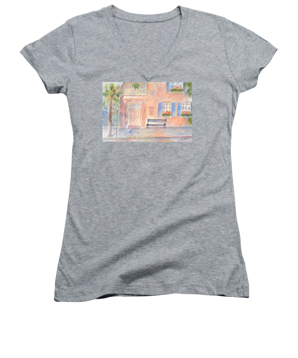 Charleston; Low Country; Palmetto Tree Women's V-Neck T-Shirt featuring the painting Sunday Morning In Charleston by Ben Kiger