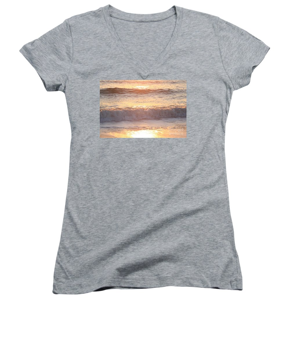 Waves Women's V-Neck (Athletic Fit) featuring the photograph Sunrise Waves by Nadine Rippelmeyer
