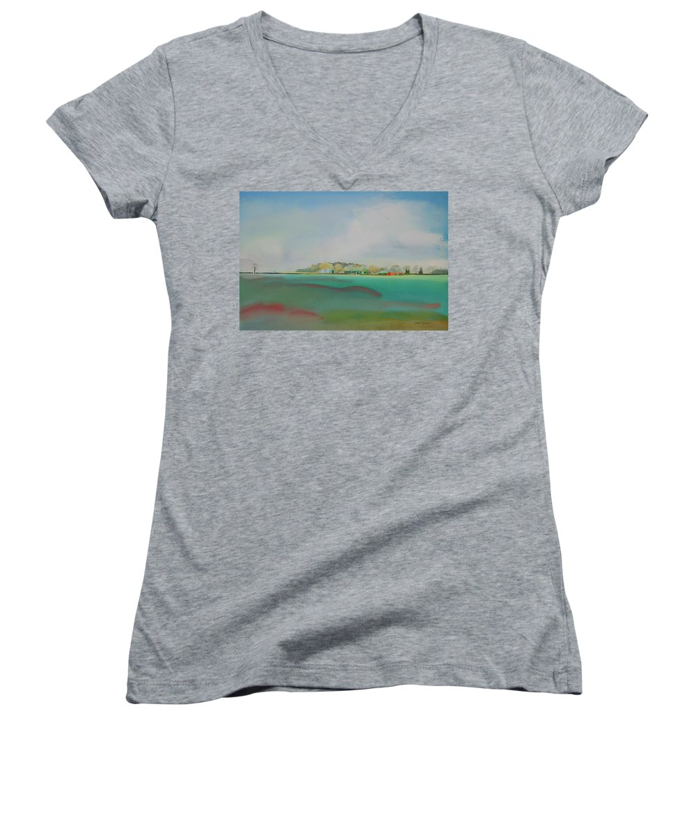 Landscape Women's V-Neck T-Shirt featuring the painting The English Farm  A Break In The Cloud by Charles Stuart