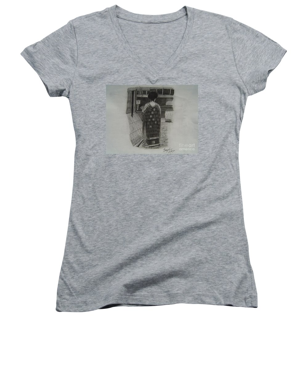 Geisha Women's V-Neck T-Shirt featuring the drawing The Geisha by Anthony Dunphy