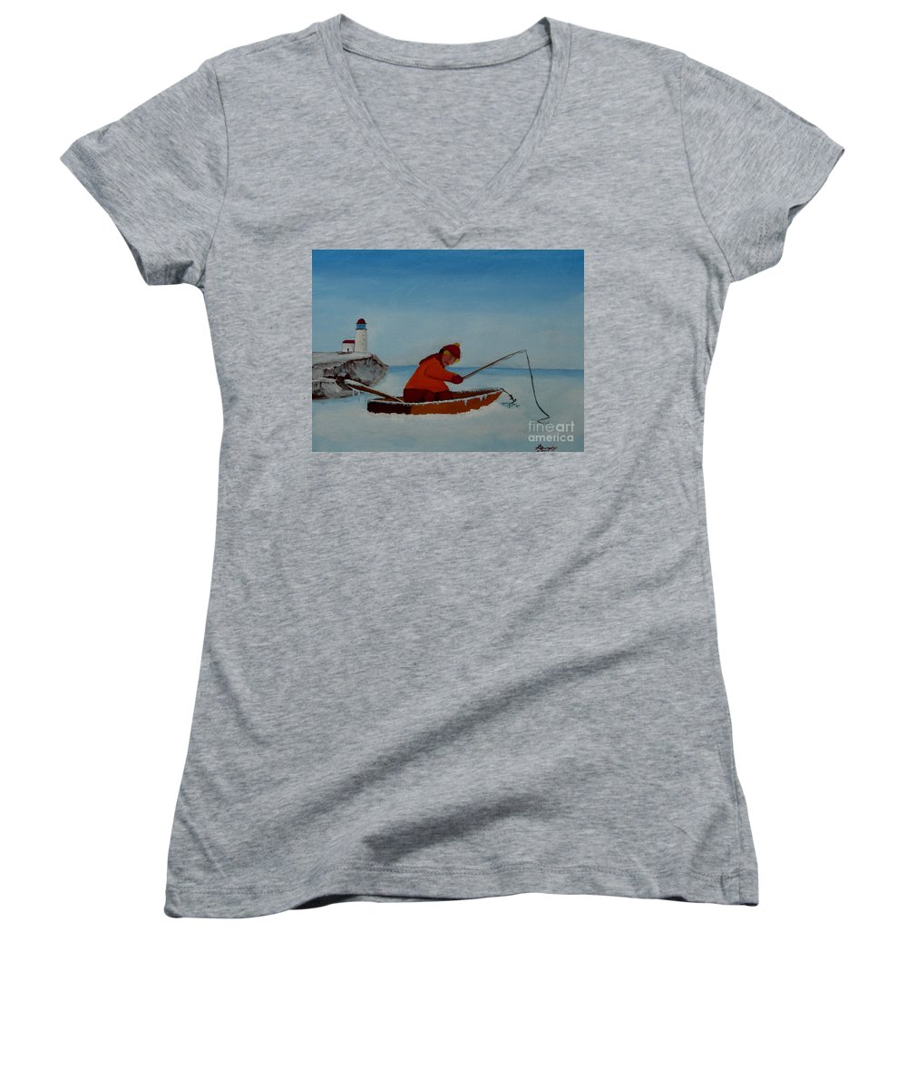 Stupid Women's V-Neck (Athletic Fit) featuring the painting The Ice Fisherman by Anthony Dunphy