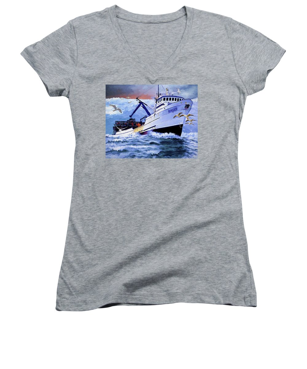 Alaskan King Crabber Women's V-Neck (Athletic Fit) featuring the painting Time To Go Home by David Wagner