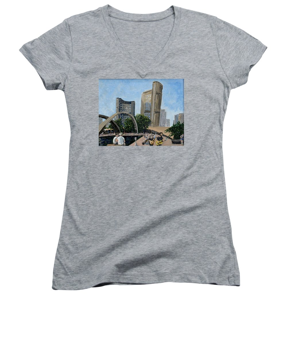 Toronto Women's V-Neck T-Shirt featuring the painting Toronto City Hall by Ian MacDonald