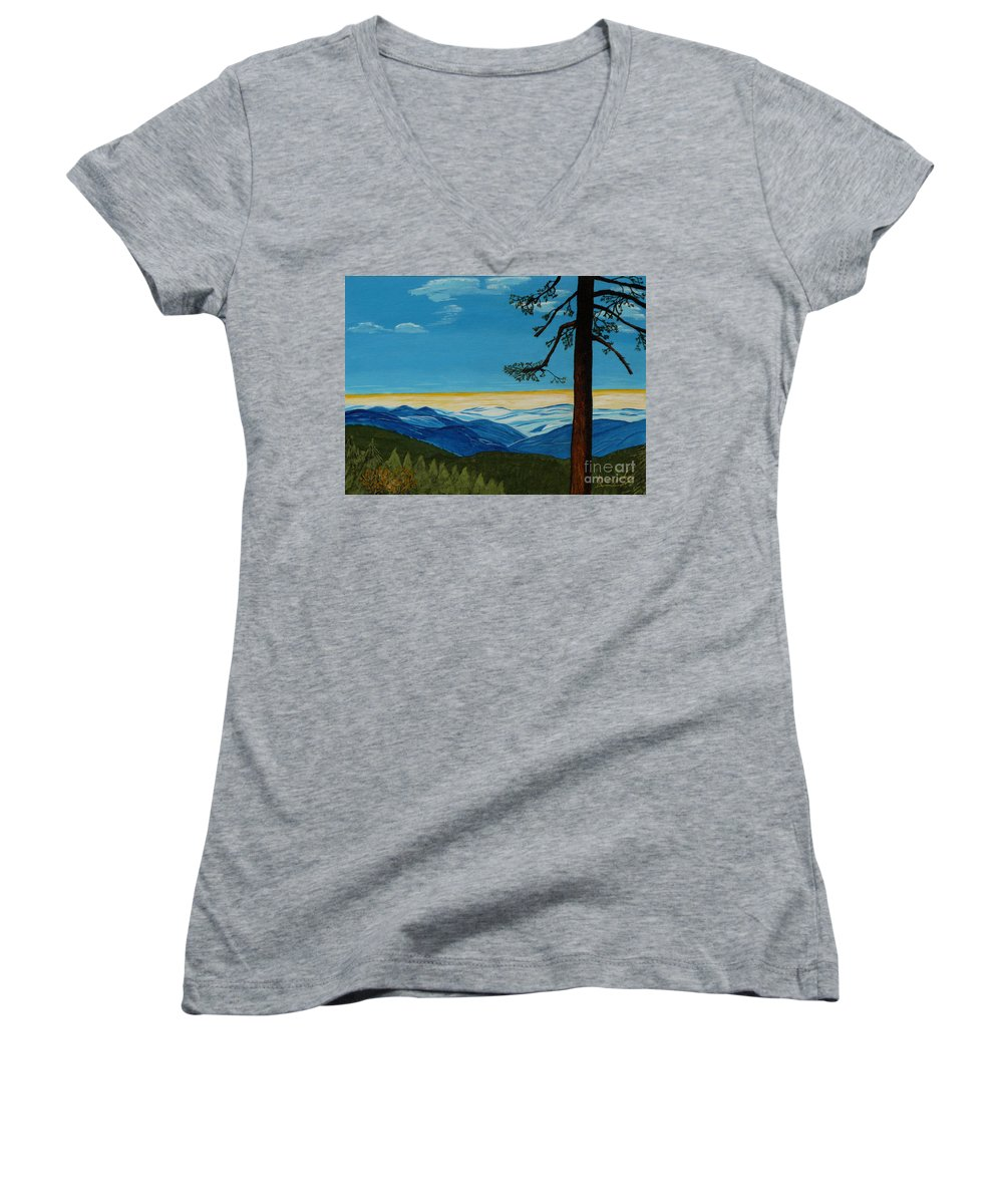 Mountain Women's V-Neck (Athletic Fit) featuring the painting Tranquil Solitude by Anthony Dunphy