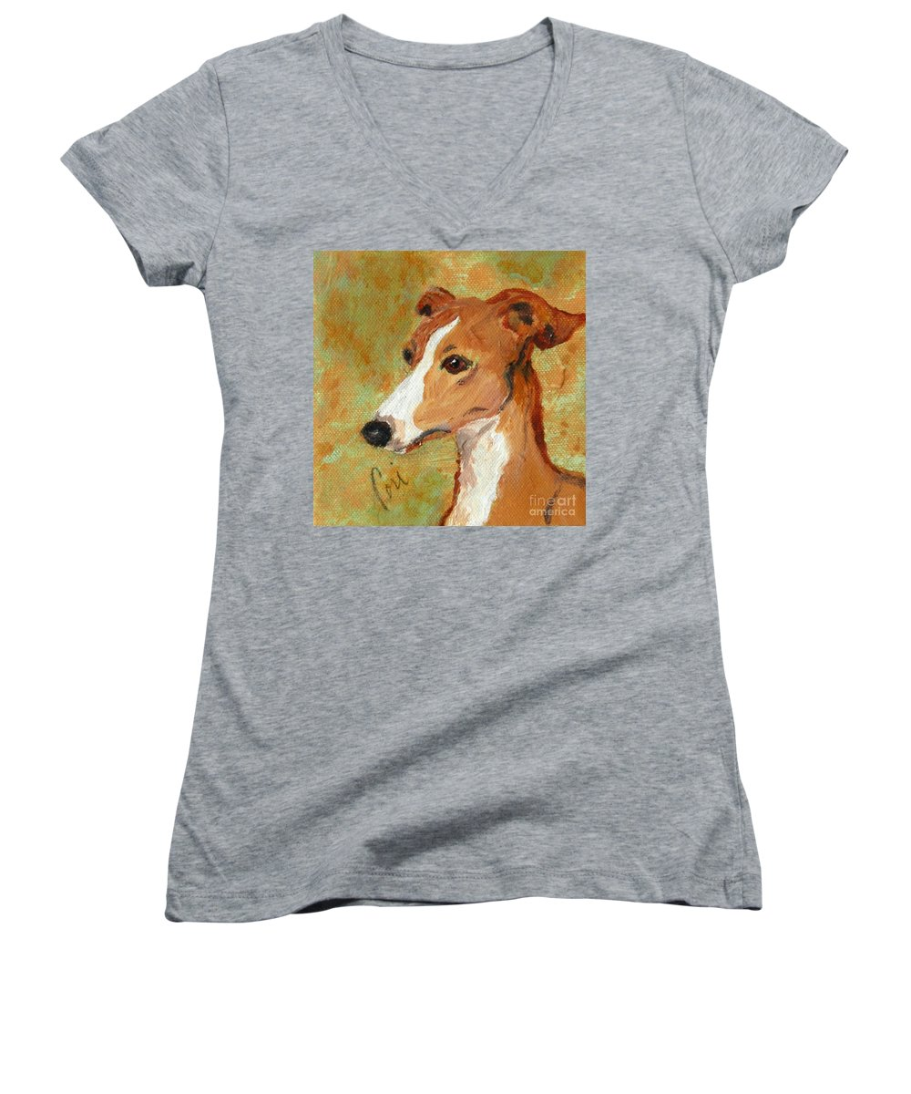 Acrylic Women's V-Neck (Athletic Fit) featuring the painting Treasured Moments by Cori Solomon