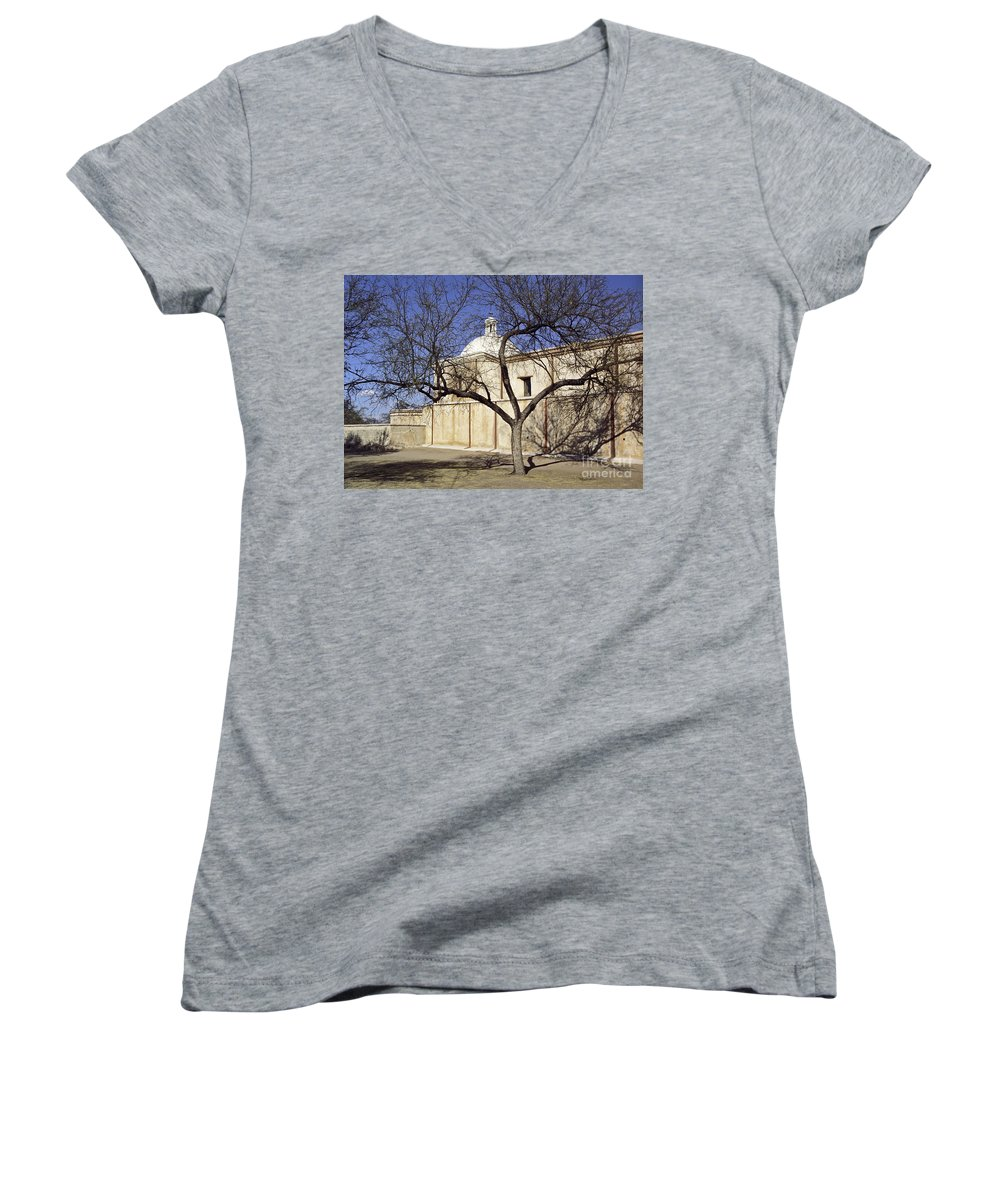 Mission Women's V-Neck T-Shirt featuring the photograph Tumacacori With Tree by Kathy McClure