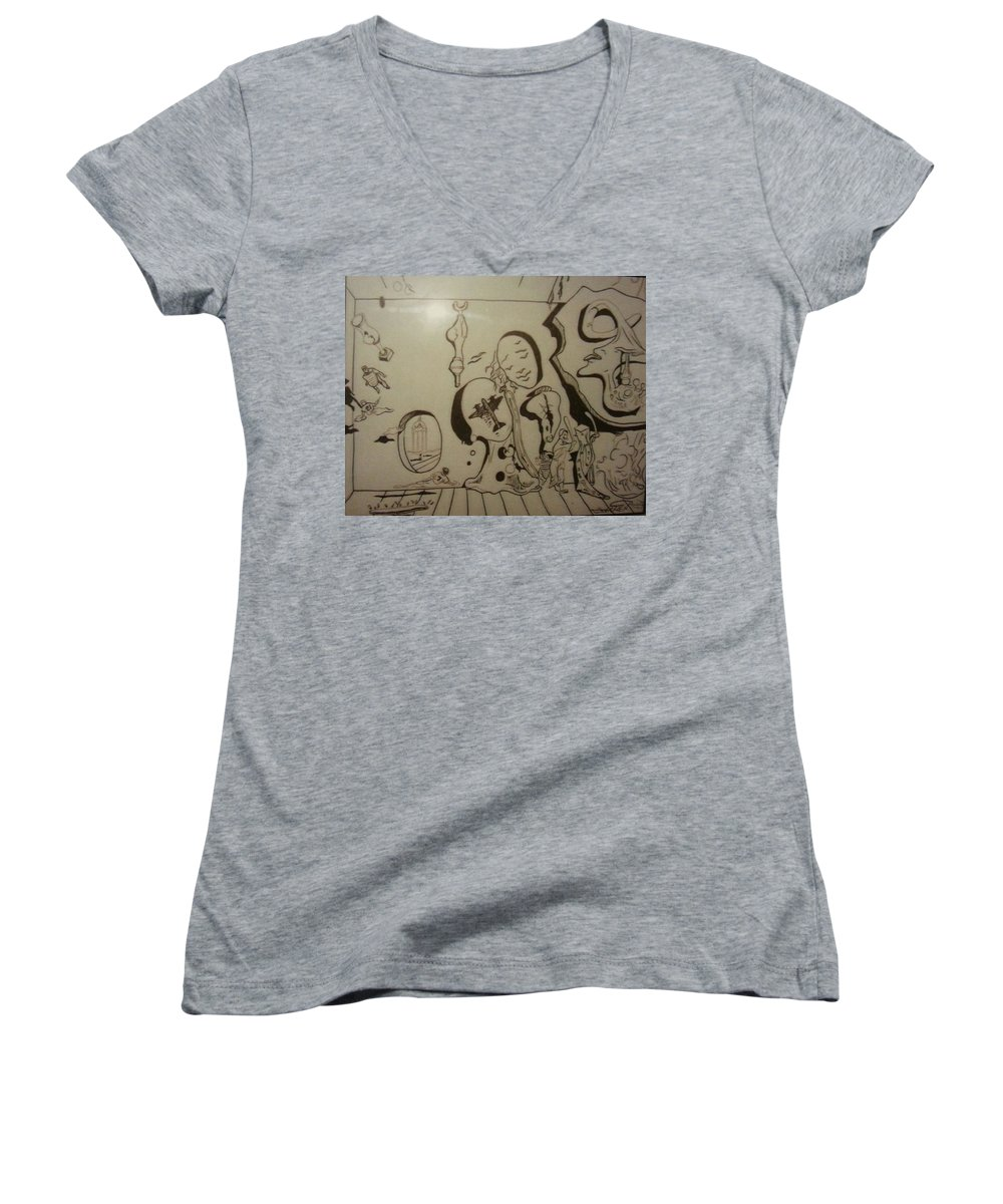 Women's V-Neck (Athletic Fit) featuring the drawing Untitled by Jude Darrien