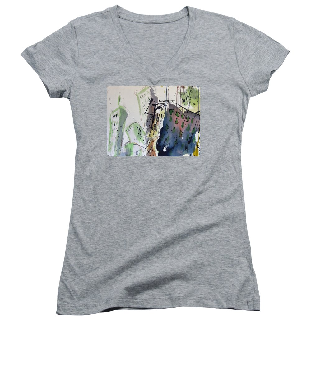 City Women's V-Neck T-Shirt featuring the painting Uptown by Robert Joyner