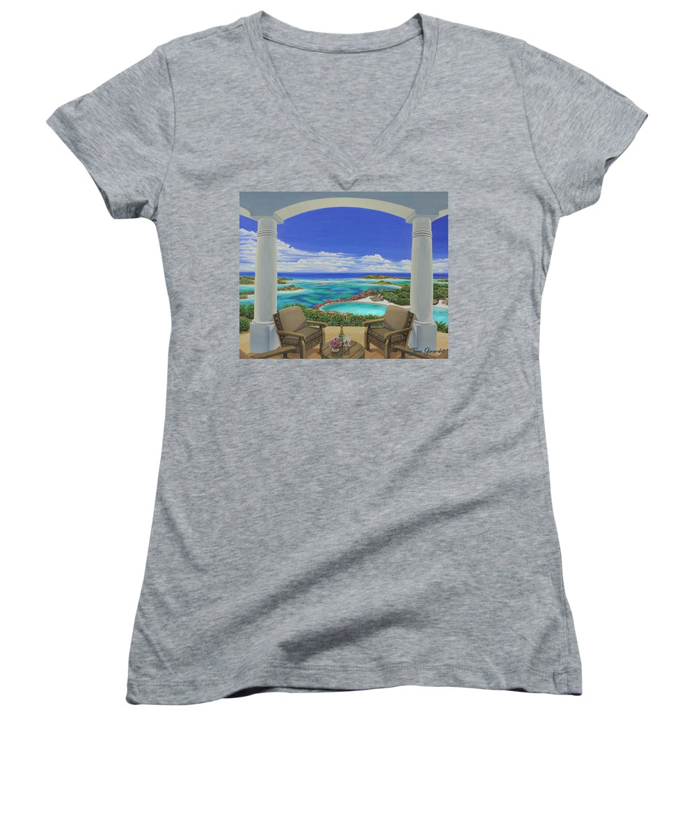 Ocean Women's V-Neck T-Shirt featuring the painting Vacation View by Jane Girardot