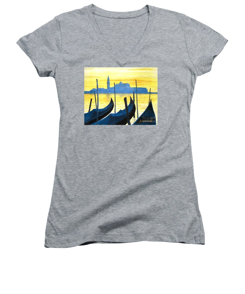 Venice Women's V-Neck (Athletic Fit) featuring the painting Venezia Venice Italy by Jerome Stumphauzer