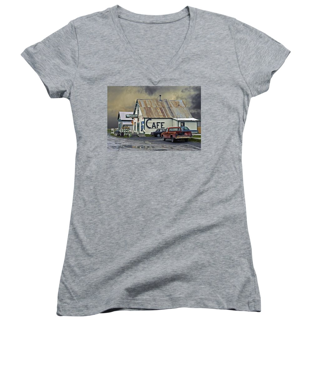 Alaska Women's V-Neck T-Shirt featuring the photograph Vintage Alaska Cafe by Ron Day