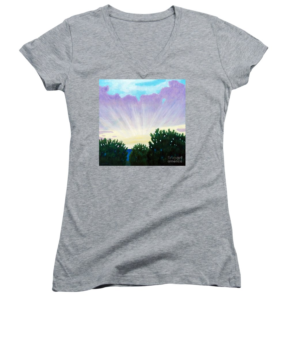 Skyscape Women's V-Neck T-Shirt featuring the painting Visionary Sky by Brian Commerford