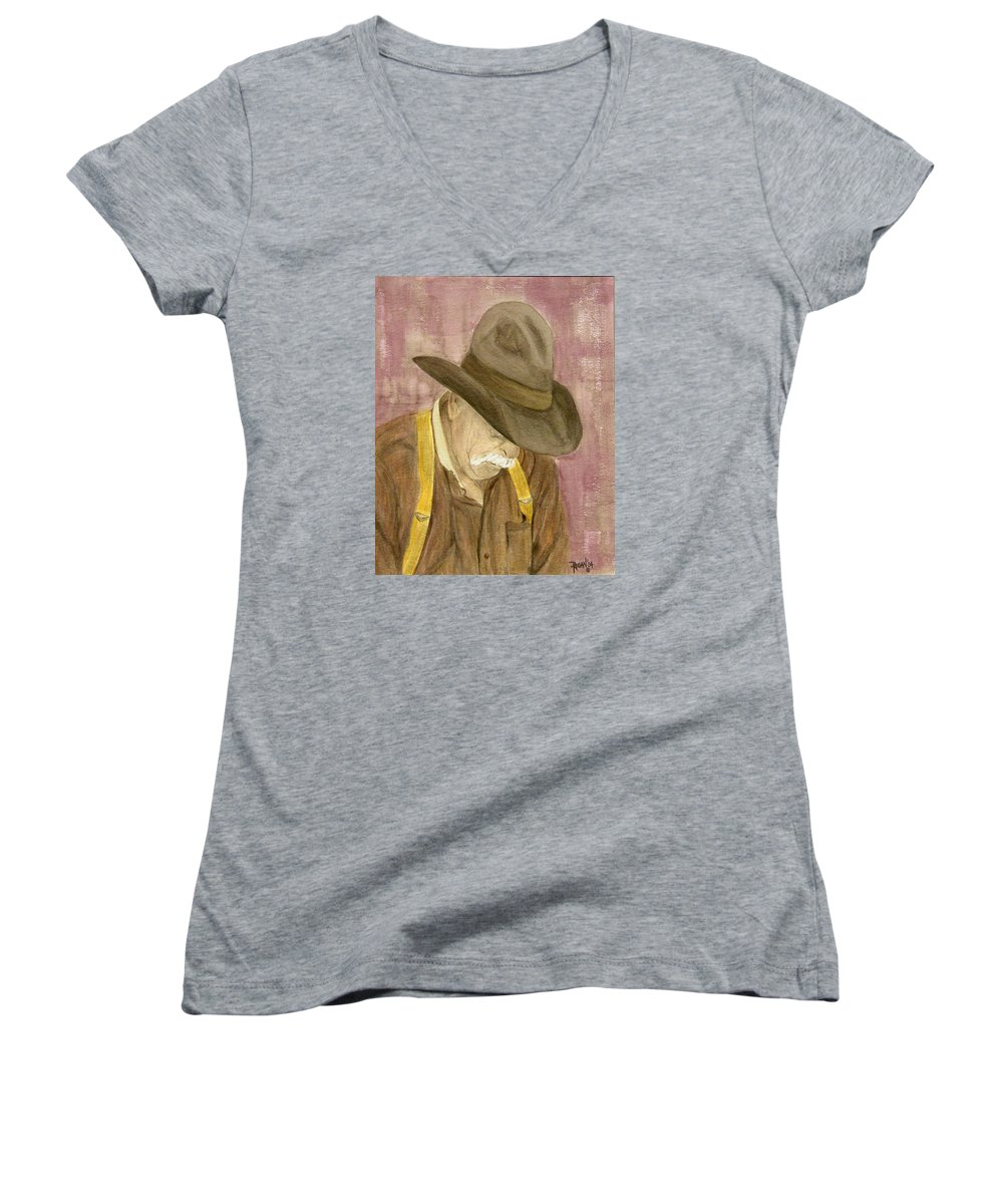 Western Women's V-Neck T-Shirt featuring the painting Walter by Regan J Smith
