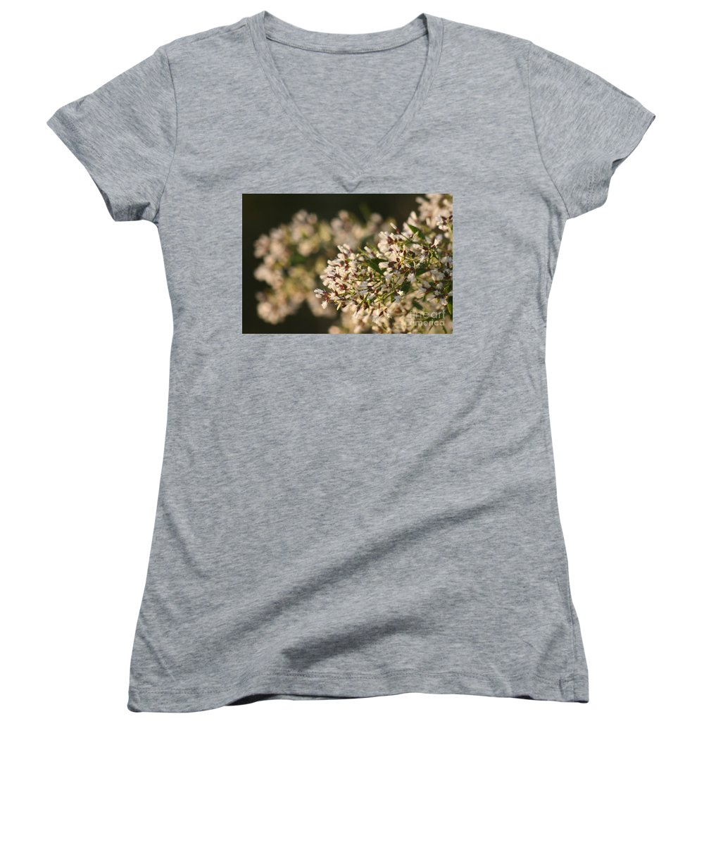 White Women's V-Neck (Athletic Fit) featuring the photograph White Flowers by Nadine Rippelmeyer