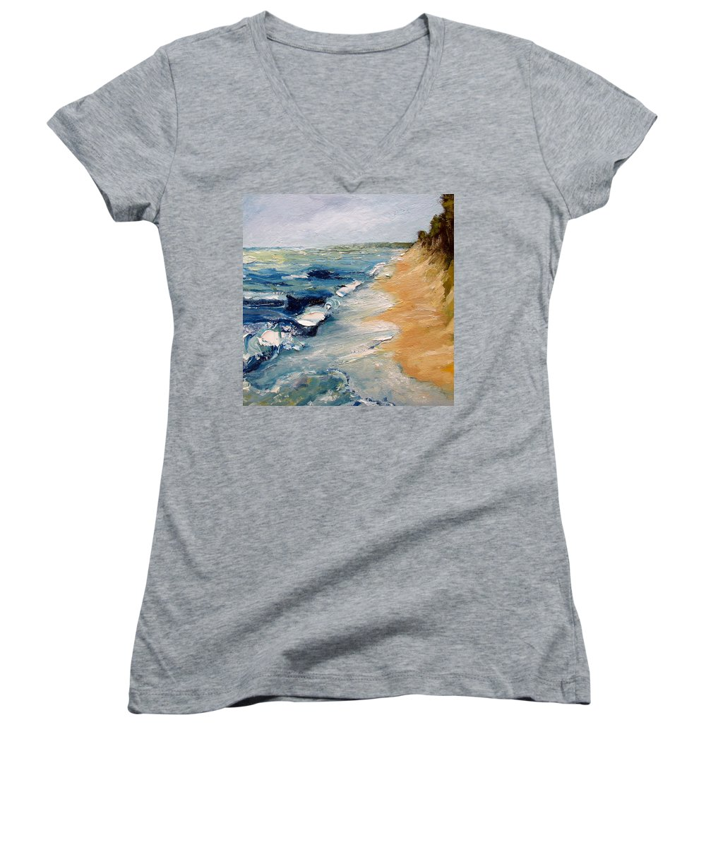 Whitecaps Women's V-Neck T-Shirt featuring the painting Whitecaps On Lake Michigan 3.0 by Michelle Calkins