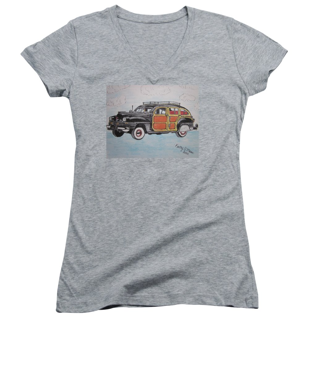 Woodie Women's V-Neck T-Shirt featuring the painting Woodie Station Wagon by Kathy Marrs Chandler