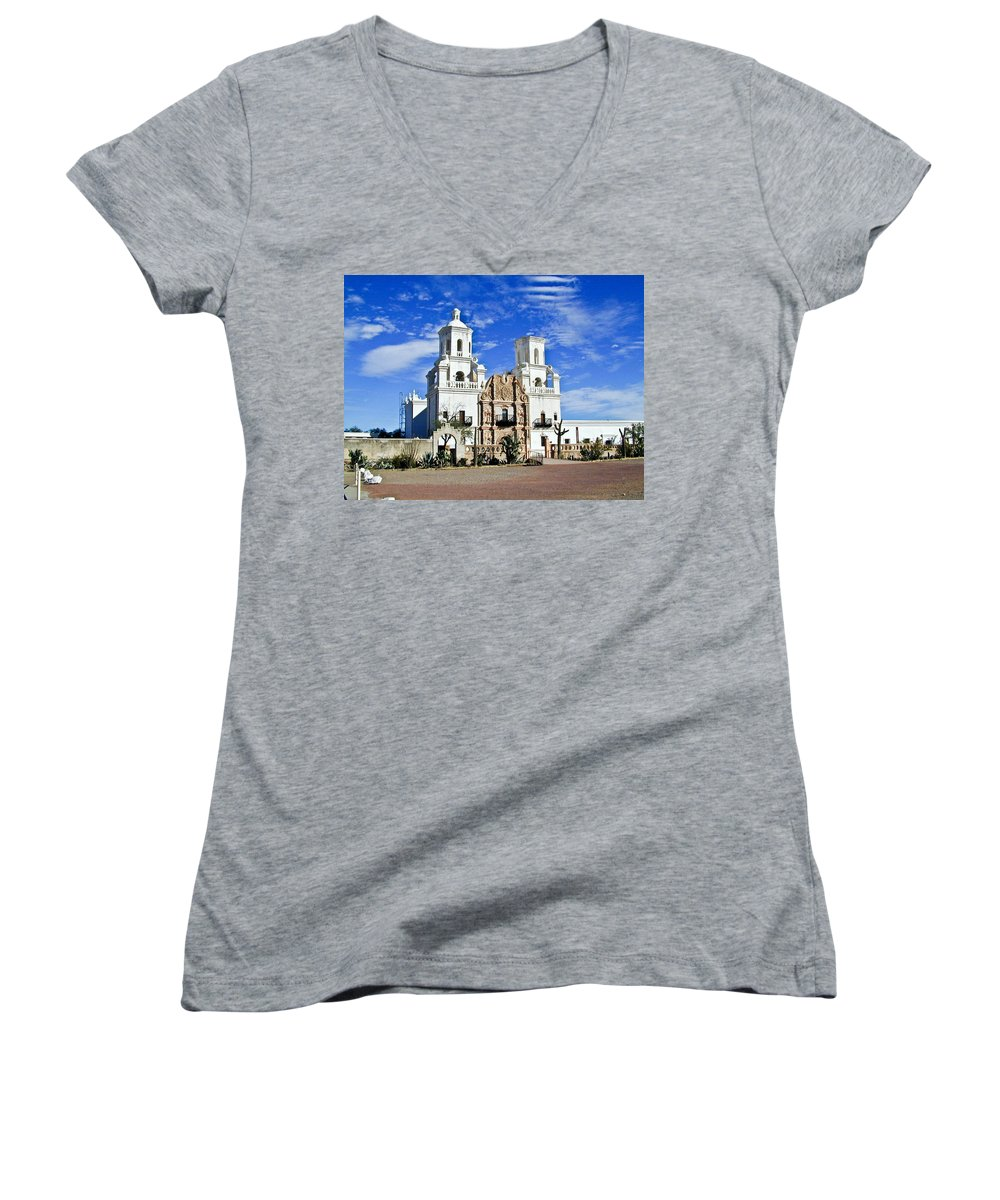 Mission San Xavier Del Bac Women's V-Neck T-Shirt featuring the photograph Xavier Tucson Arizona by Douglas Barnett