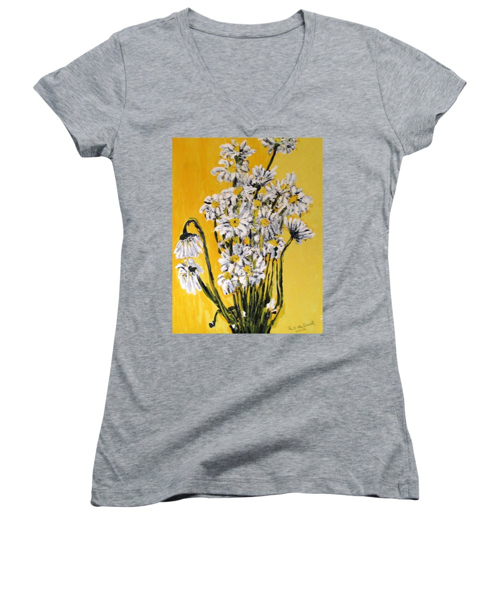 Daisy Women's V-Neck (Athletic Fit) featuring the painting Yellow by Ian MacDonald