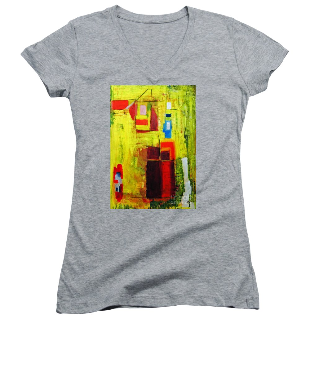Abstract Painting Women's V-Neck T-Shirt featuring the painting Yellow by Jeff Barrett