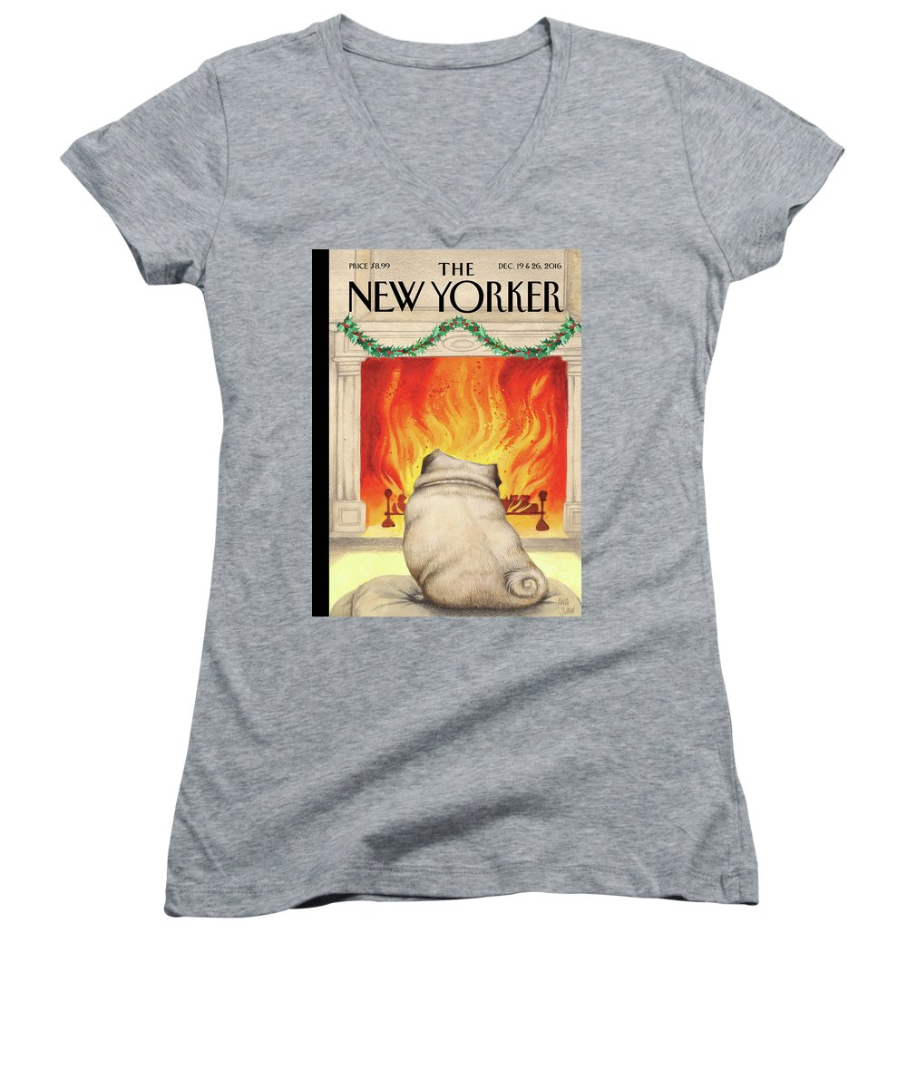 Pug Women's V-Neck featuring the painting Yule Dog by Ana Juan