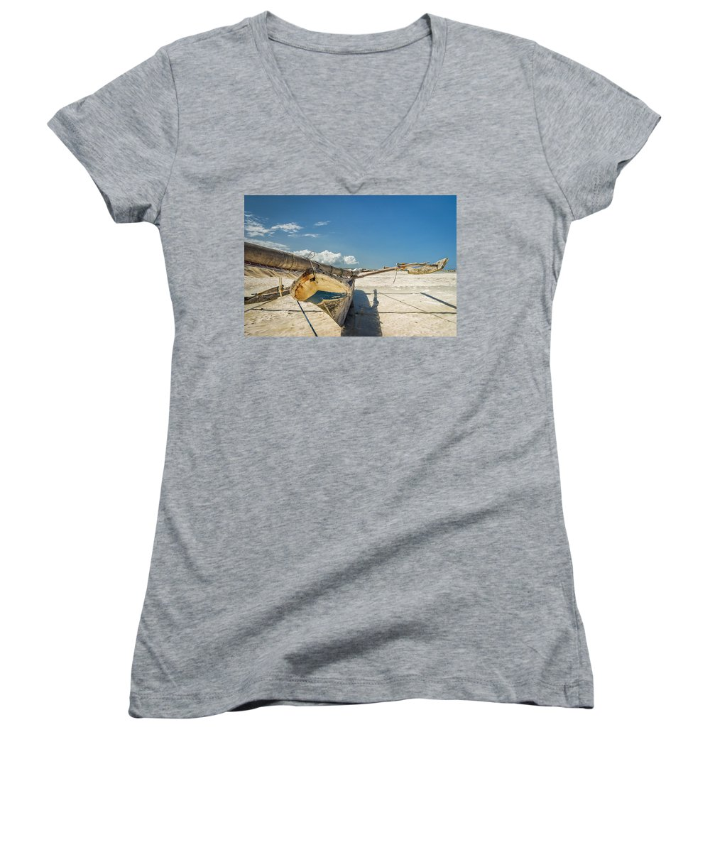 3scape Women's V-Neck (Athletic Fit) featuring the photograph Zanzibar Outrigger by Adam Romanowicz