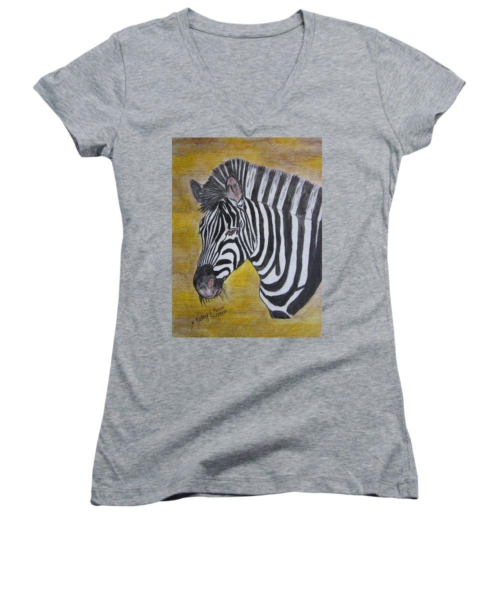 Zebra Women's V-Neck T-Shirt featuring the painting Zebra Portrait by Kathy Marrs Chandler