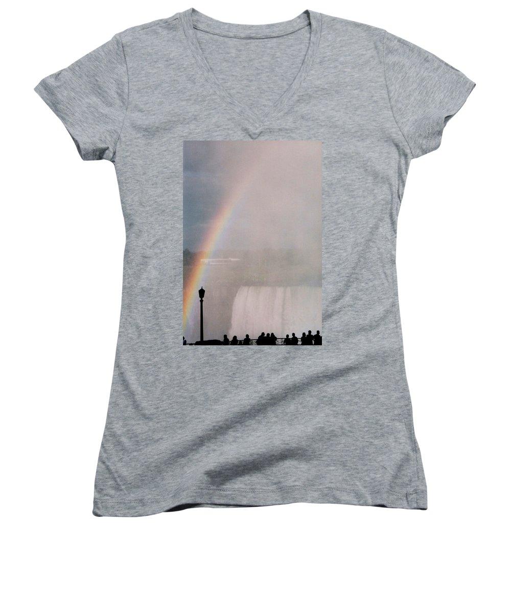 Waterfall Women's V-Neck T-Shirt featuring the photograph Rainbow Falls by Pharris Art