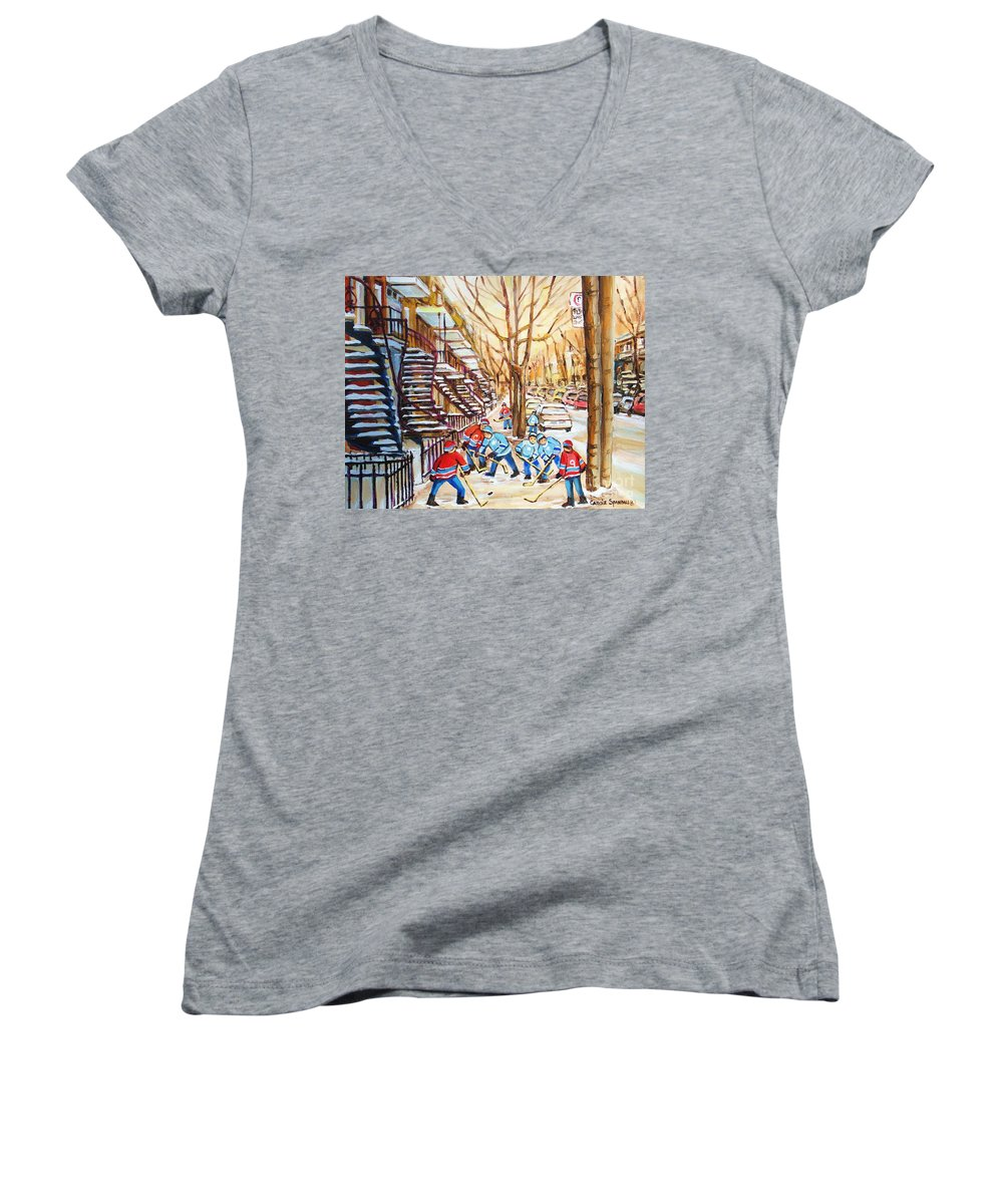 Montreal Women's V-Neck T-Shirt featuring the painting Hockey Game Near Winding Staircases by Carole Spandau