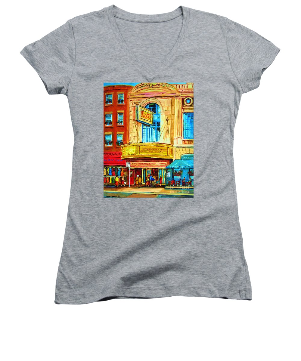 Street Scene Women's V-Neck T-Shirt featuring the painting The Rialto Theatre by Carole Spandau