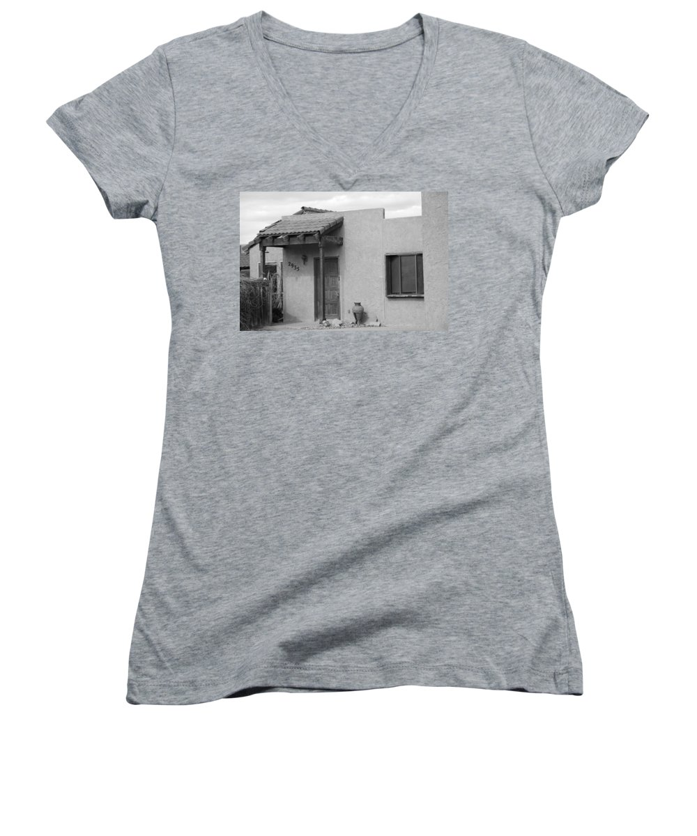 Architecture Women's V-Neck T-Shirt featuring the photograph Adobe House by Rob Hans